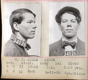 California, Prison and Correctional Records, San Quention 1918-22 for Mugshot for W J. Acker