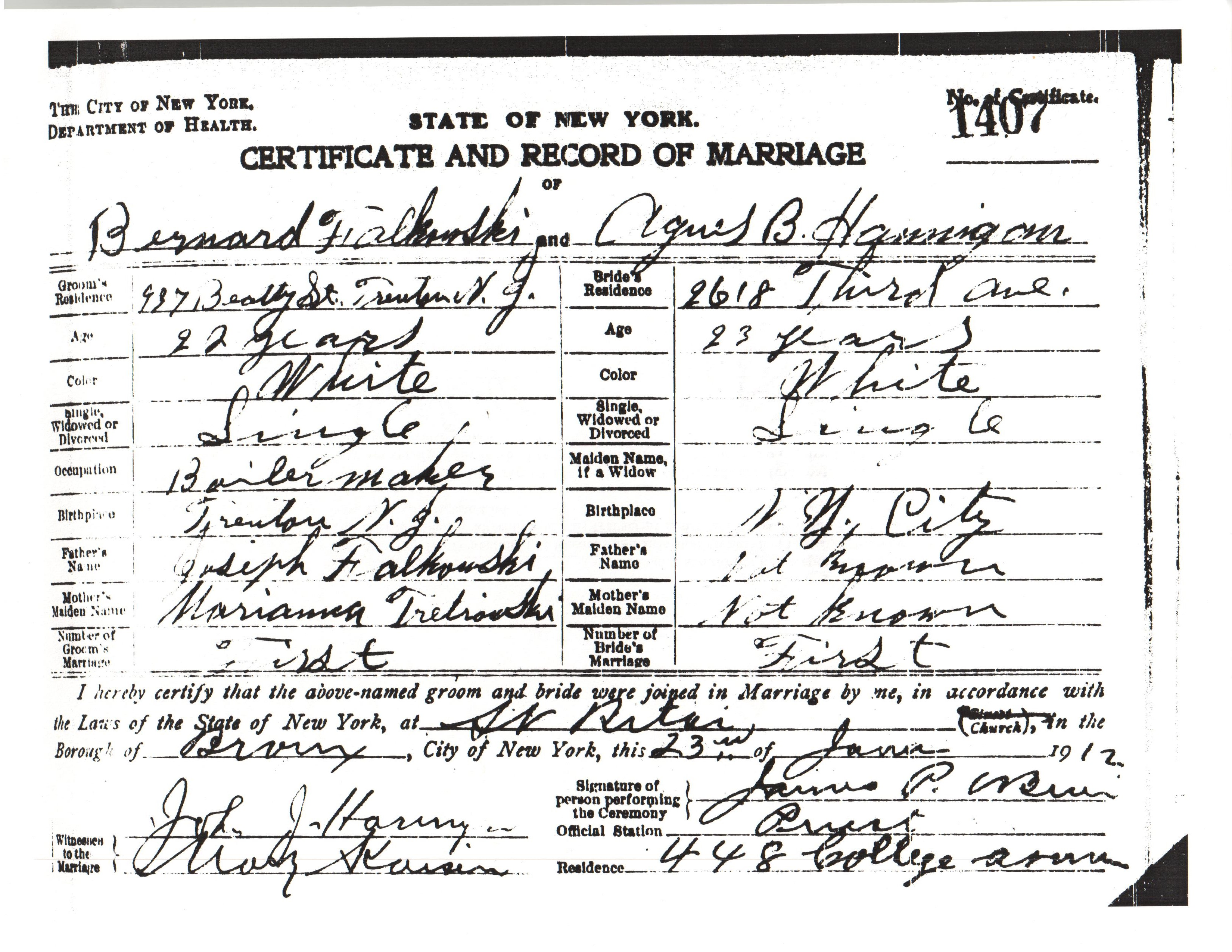 State of New York, Certificate and Record of Marriage of Bernard Falkowski and Agnes B Hannigan
